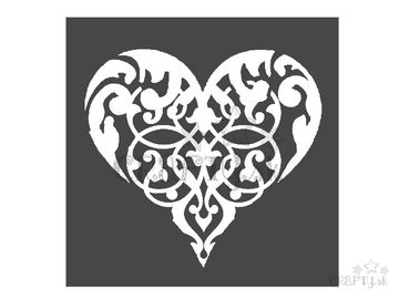 MixMedia šablóna 18x18cm - srdce ornament