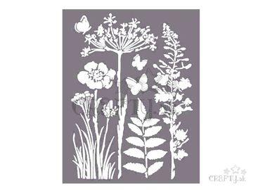 MixMedia šablóna 20x25cm - lúčne kvety