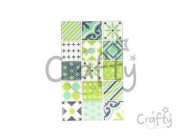 Nálepky na obklad mozaikové 4cm - 30ks - zelené