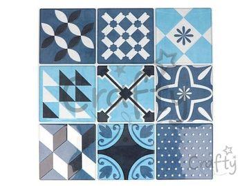 Nálepky na obklad mozaikové 8cm - 18ks - námornícke modré