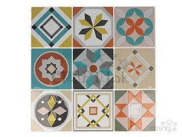 Nálepky na obklad mozaikové 8cm - 18ks - vintage farebné