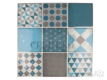Nálepky na obklad mozaikové 8cm - 9ks - modré geometrické