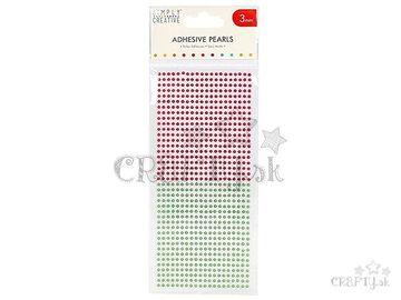 Nalepovacie perličky 3mm 800ks - zelené a červené