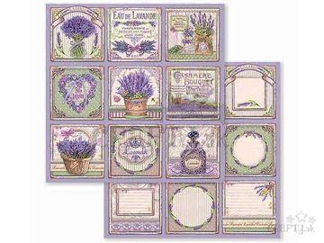 Obojstranný scrapbook papier 30,5cm - levanduľové kartičky