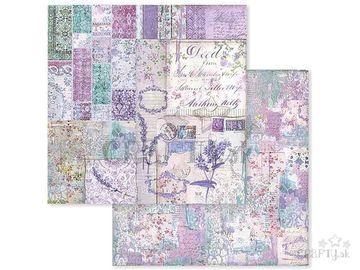Obojstranný scrapbook papier 30,5cm - levanduľový patchwork