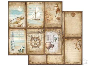Obojstranný scrapbook papier 30,5cm - námornícke motívy