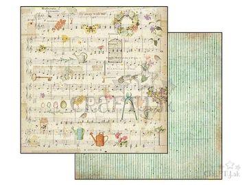 Obojstranný scrapbook papier 30,5cm - noty, záhrada, prúžky