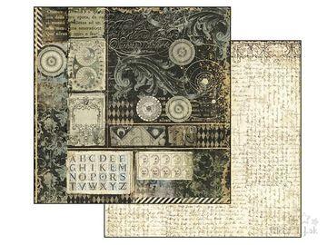 Obojstranný scrapbook papier 30,5cm - text a ornamenty