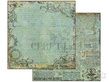 Obojstranný scrapbook papier 30,5cm - vintage modrý s textom