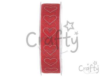 Organzová stuha 25mm červená - strieborné srdiečka