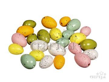 Plastové farebné mini vajíčka 24ks - mix farieb a veľkostí