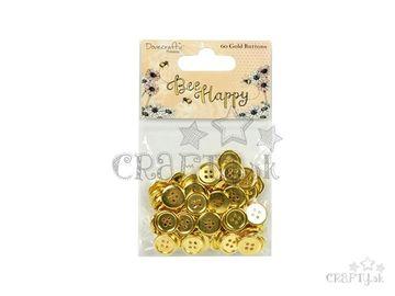 Plastové gombíky srdiečka 60ks - zlaté - Bee Happy