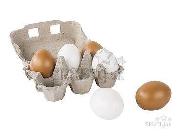 Plastové vajíčka v krabičke 6cm 6ks - biele a hnedé