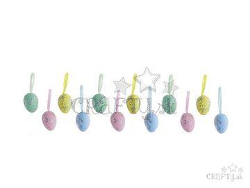 Polystyrénové vajíčka závesné 4cm - pastelové so striebornými fľakmi