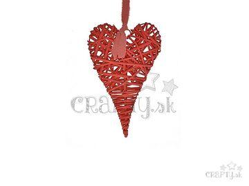 Ratanové závesné srdce červené 20cm