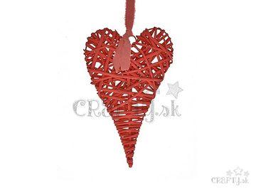 Ratanové závesné srdce červené 30cm