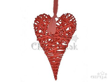Ratanové závesné srdce červené 40cm