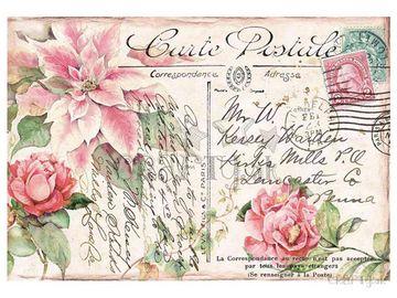 Ryžový papier 48x33cm - Vianočná pohľadnica s ružami