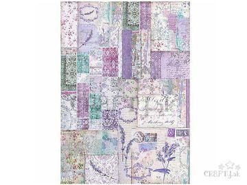 Ryžový papier A3 - levanduľový patchwork