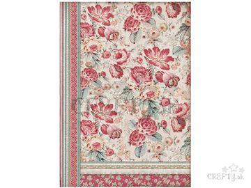 Ryžový papier A3 - tapeta červené kvety
