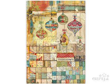 Ryžový papier A3 - vianočné patchworkové gule