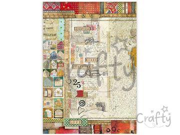 Ryžový papier A3 - vianočný patchwork