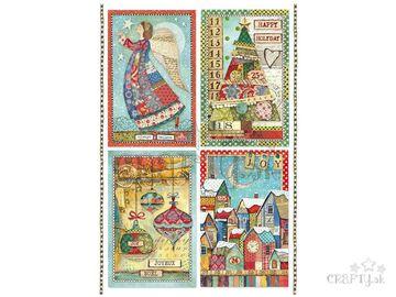 Ryžový papier A4 - patchworkové vianočné pohľadnice