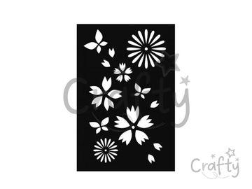 Šablóna 10x15cm - japonské kvety