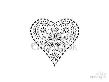 Šablóna A6 - vzorované srdce