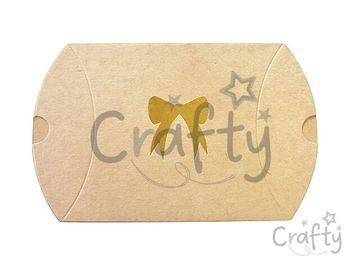 Set kraftových obálok/ škatuliek 4ks - 9x7,5cm - so zlatou mašličkou