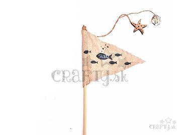 Textilná zapichovacia vlajka na paličke 50cm - prírodná s rybkami