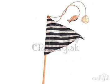 Textilná zapichovacia vlajka na paličke 50cm - pruhovaná