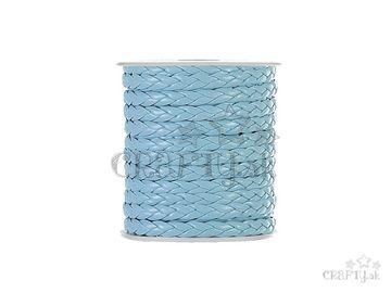 Zapletaná kožená šnúrka 7mm - pastelová modrá