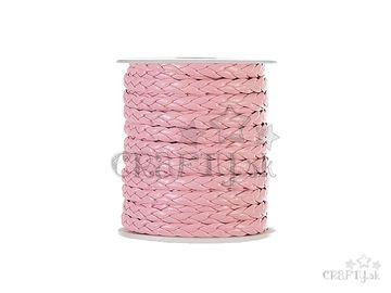 Zapletaná kožená šnúrka 7mm - pastelová ružová
