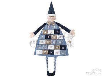 Závesný textilný adventný kalendár 118cm s číslami - modrý chlapček