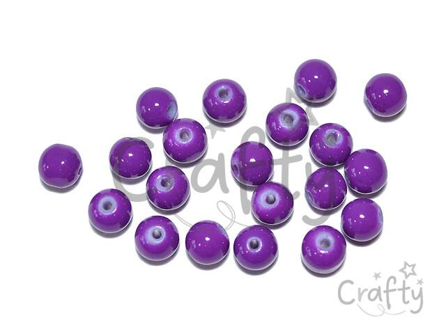 crafty.sk - Sklenené korálky 6mm 20ks - fialové ed115201d04
