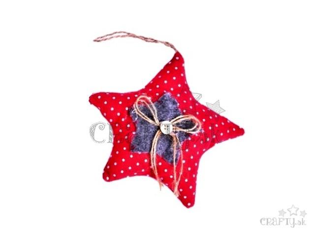 13fb896df Textilná vianočná dekorácia 13cm - hviezda - bodkovaná